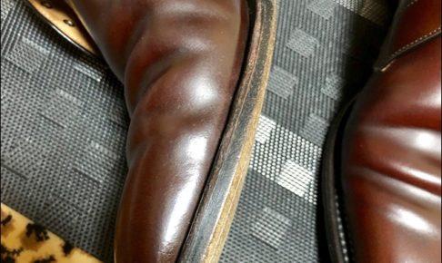 コードバンの革靴にコバインキを塗っていくよー