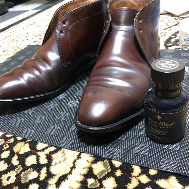 コードバンの革靴にコバインキを塗ったよ